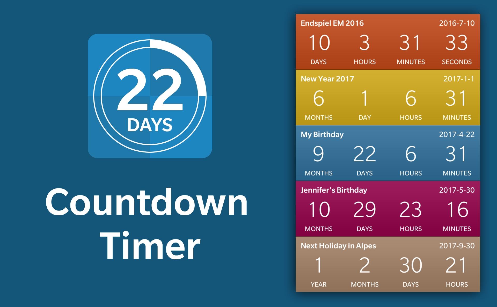 Countdown Timer – Bytebau_Birthday Calendar Countdown App