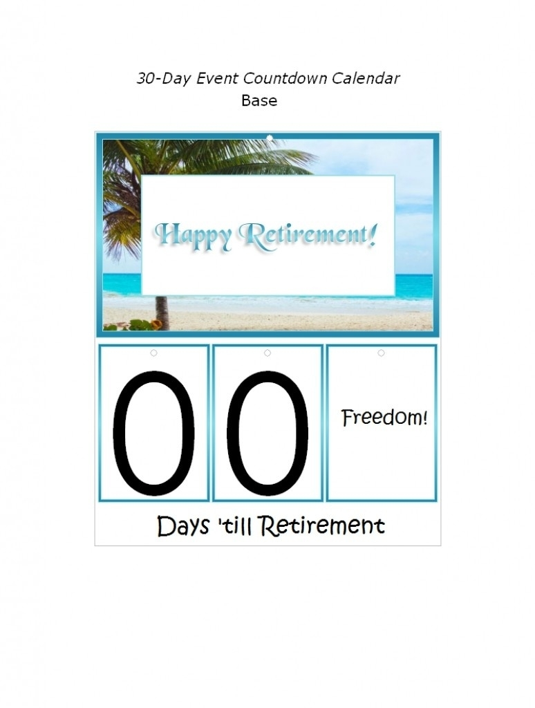 Countdown To Retirement Calendar Printable | Isacl_5 Year Countdown Calendar