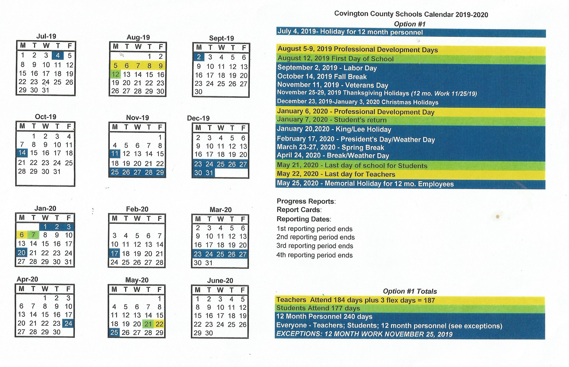 County Board Oks 2019-20 Calendar With Aug. 12 Start - The Andalusia_School Calendar Lee County 2020