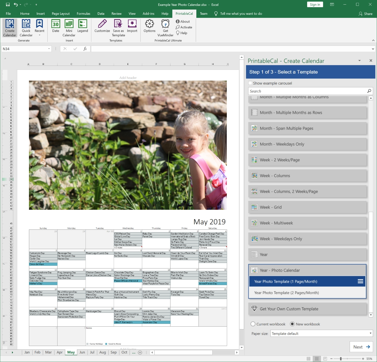 Create Printable Calendars In Excel Or Word_Calendar Printing Software For Windows 7