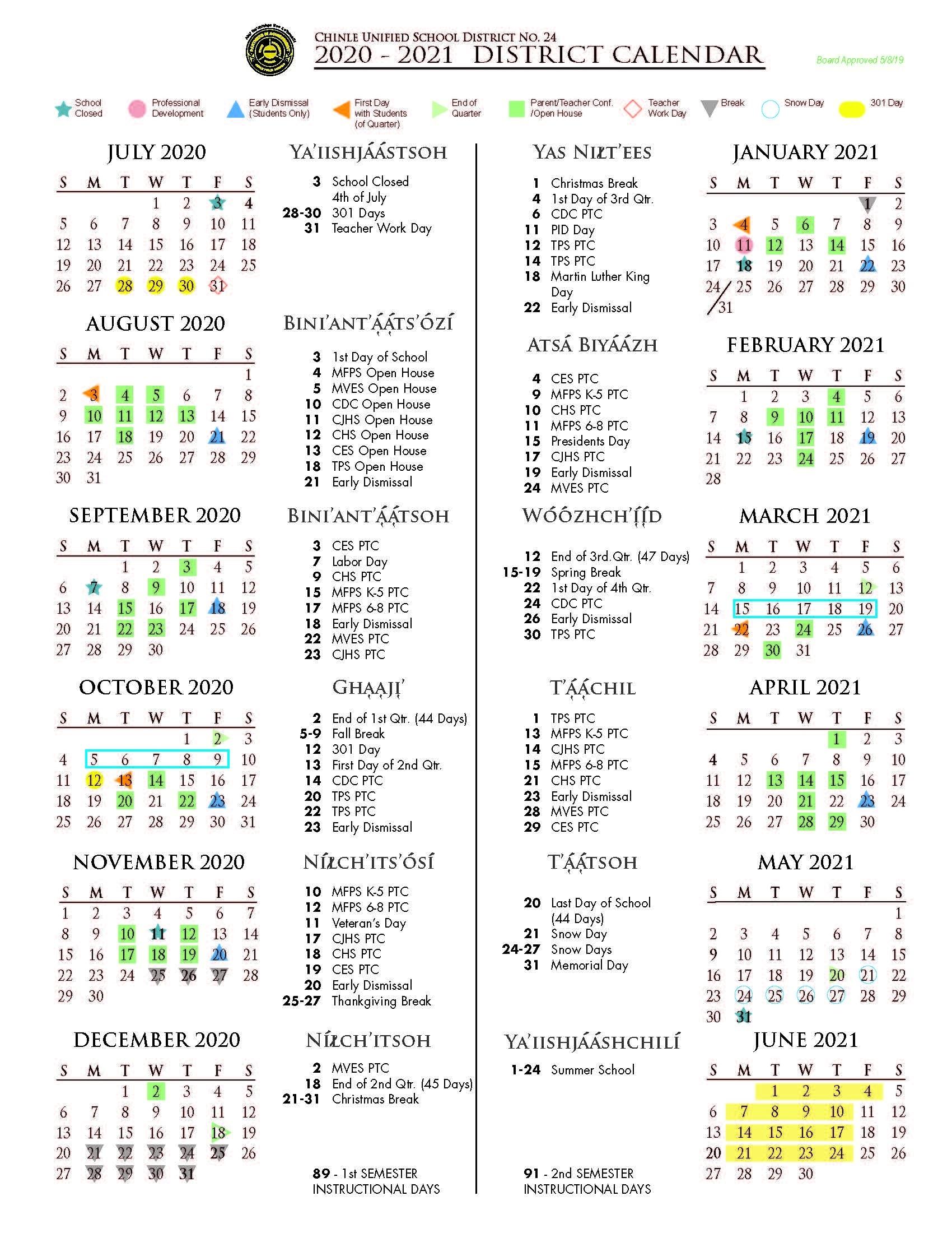 Cusd Calendars 2019-2021 |_Cusd 4 School Calendar