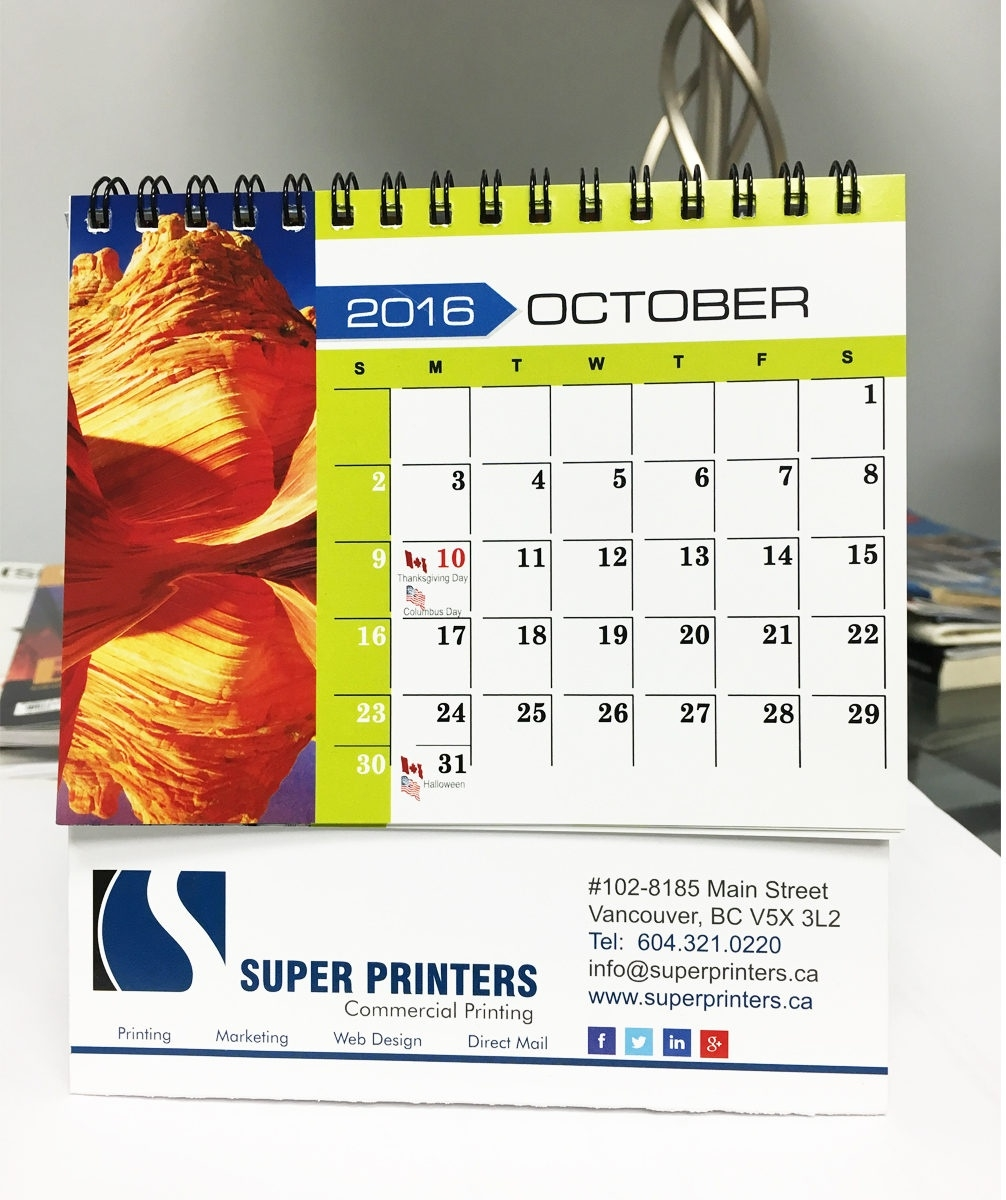 Custom Desktop Calendars With Super Printers_Photo Calendar Printing Vancouver