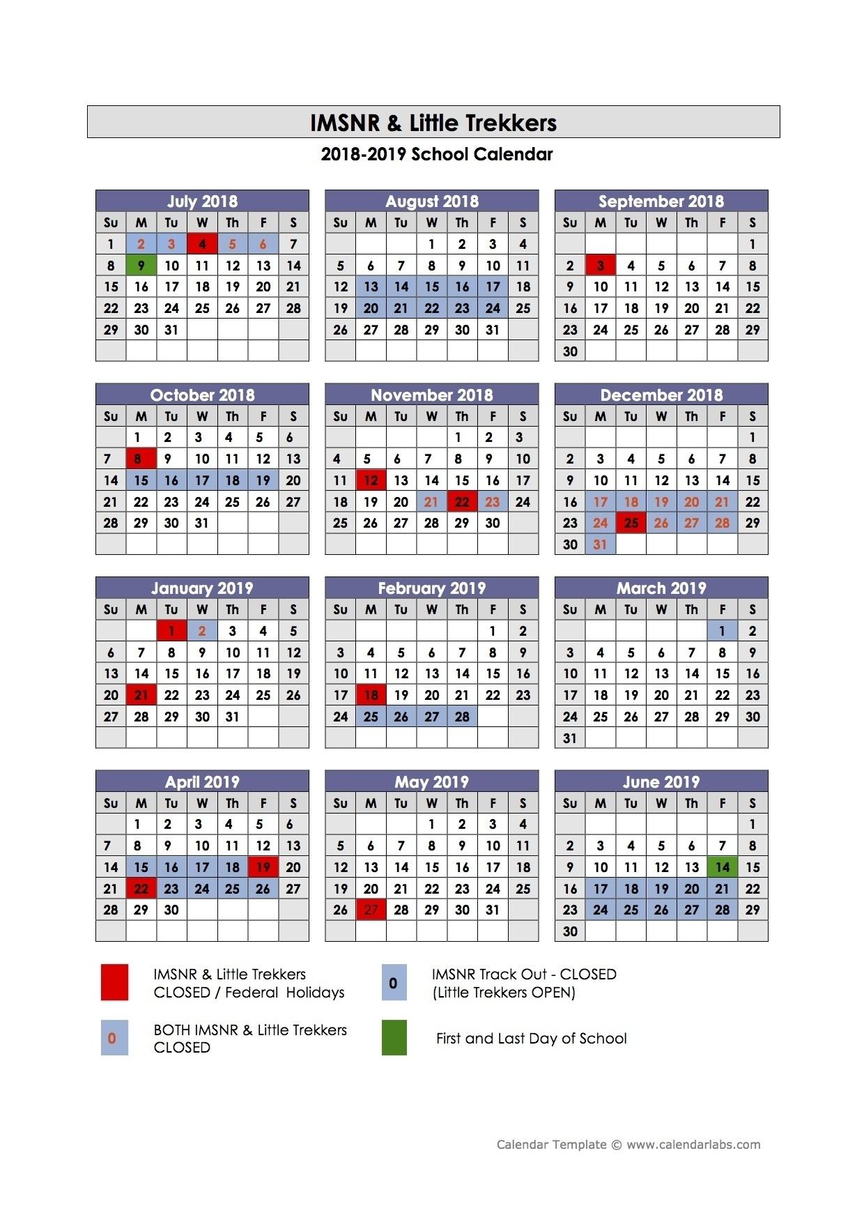Dashing 4 Track School Calendar • Printable Blank Calendar Template_4 Track School Calendar