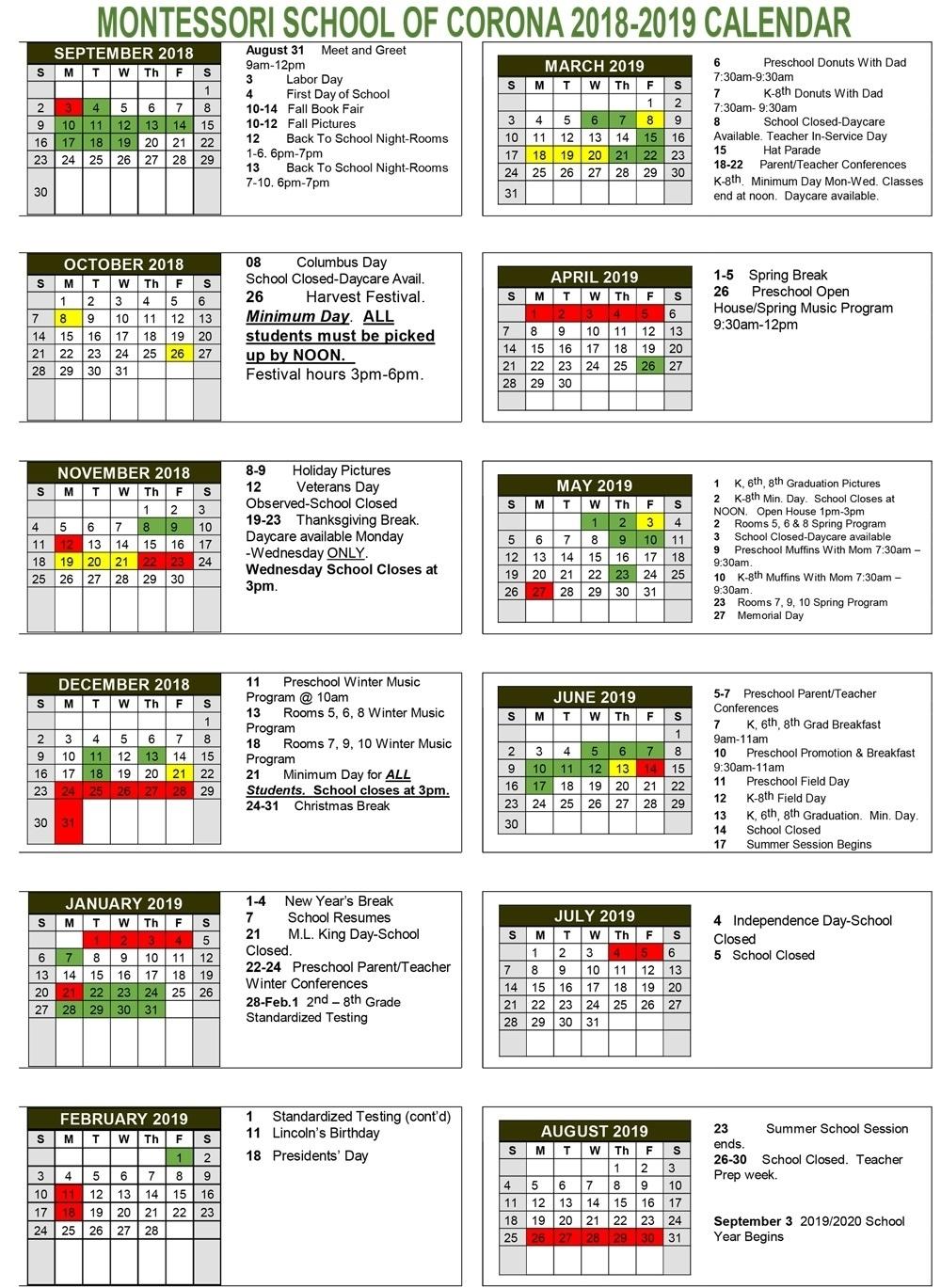 Dashing King K School Calendar • Printable Blank Calendar Template_King K School Calendar