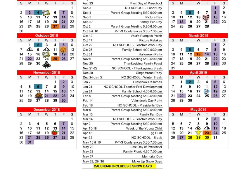 Dc West Community Schools - Early Education - Prek 2018-2019 Calendar_Pre K School Calendar