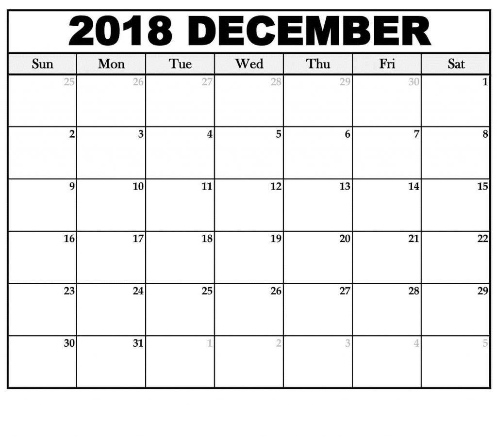 Dec 2018 Online Calendar To Print | December 2018 Calendar | 2018_Calendar Printing Online Free