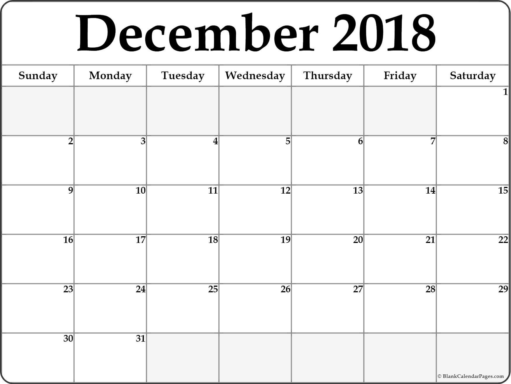 December 2018 Calendar Printable- Free Templates - Printable_Calendar Blank Templates Free