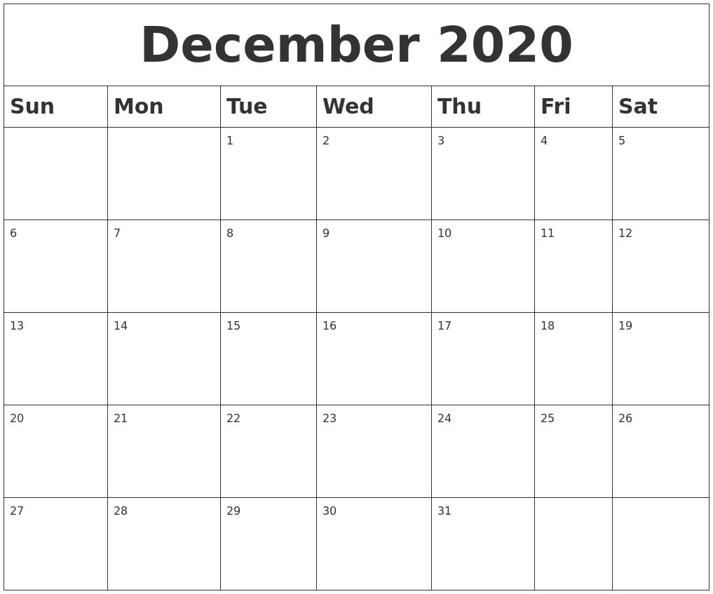 December 2020 Blank Calendar_A Blank Calendar For December 2020