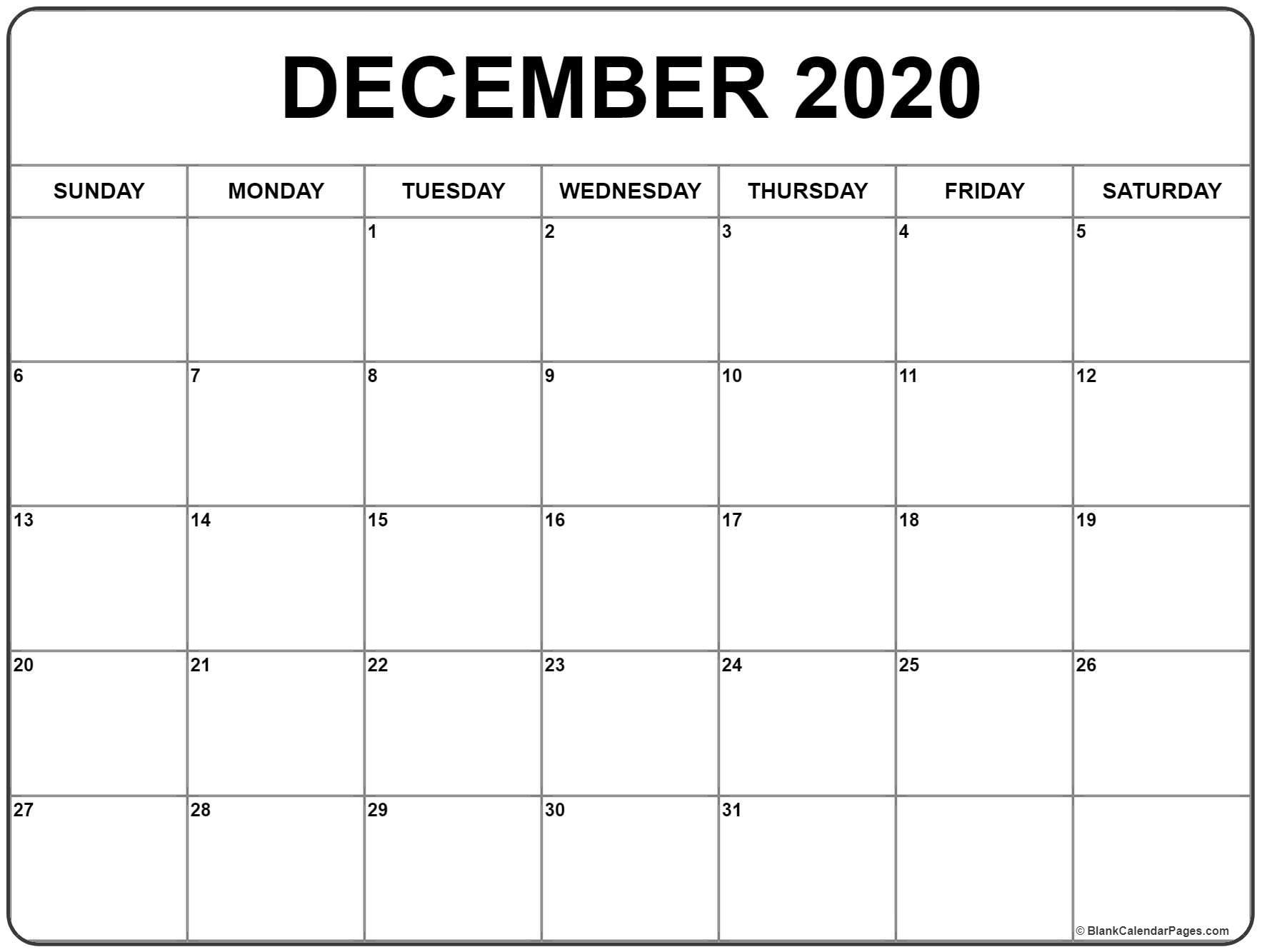 December 2020 Calendar | Free Printable Monthly Calendars_Calendar Blank December 2020