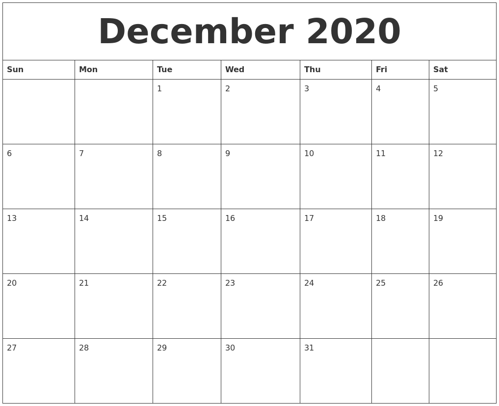 December 2020 Calendar_Blank Calendar December 2020 And January 2020