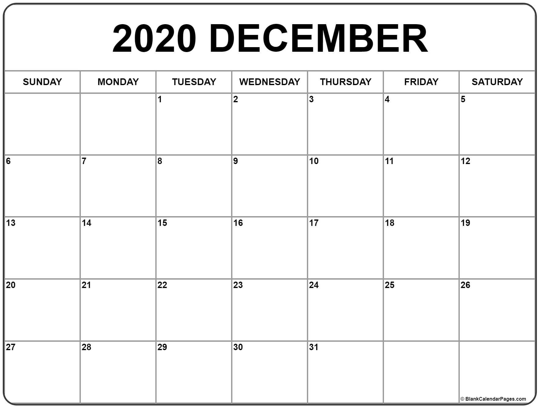 December 2020 Printable Calendar Template #2020Calendars_Blank Calendar Template By Month 2020