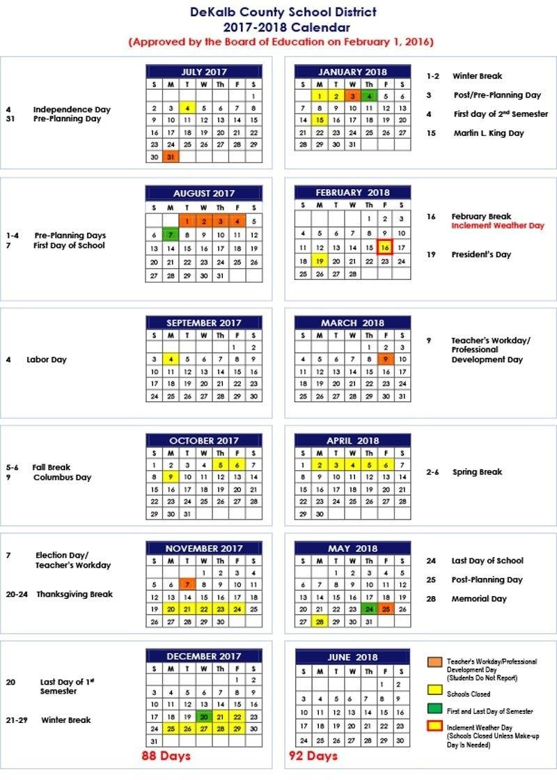 Dekalb County School District 2017-18 Calendar | Places: Atlanta_District 7 School Calendar