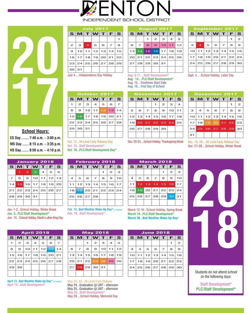 "Denton Isd On Twitter: ""the 2017-18 School Calendar Is Out Let_School Calendar Denton Isd"