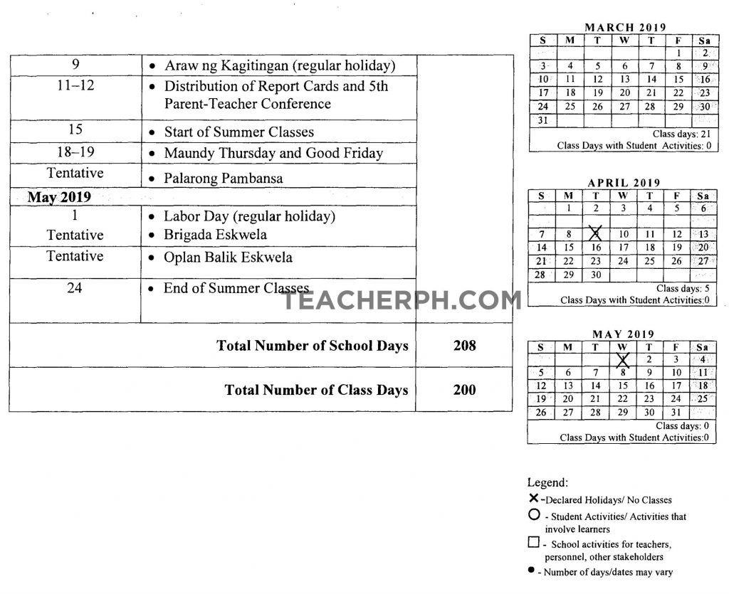 Deped School Calendar For School Year 2018-2019 - Teacherph_School Calendar 2020 To 2020 Deped