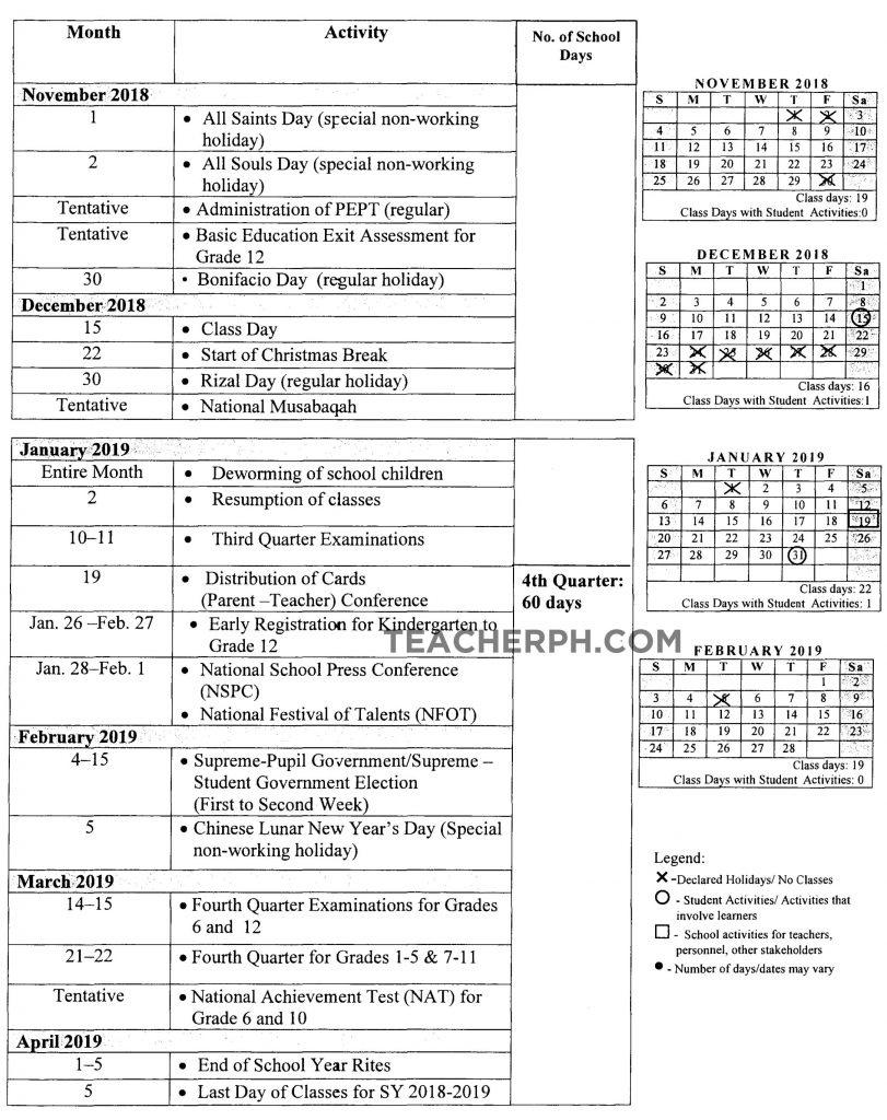 Deped School Calendar For School Year 2018-2019 - Teacherph_School Calendar Deped 2020