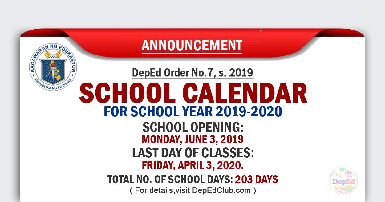 Deped School Calendar For School Year 2019-2020_Calendar Of School Activities 2020