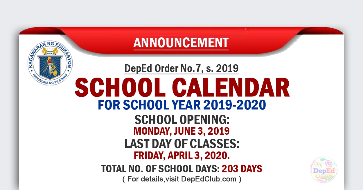 Deped School Calendar For School Year 2019-2020_School Calendar 2020 To 2020 Deped