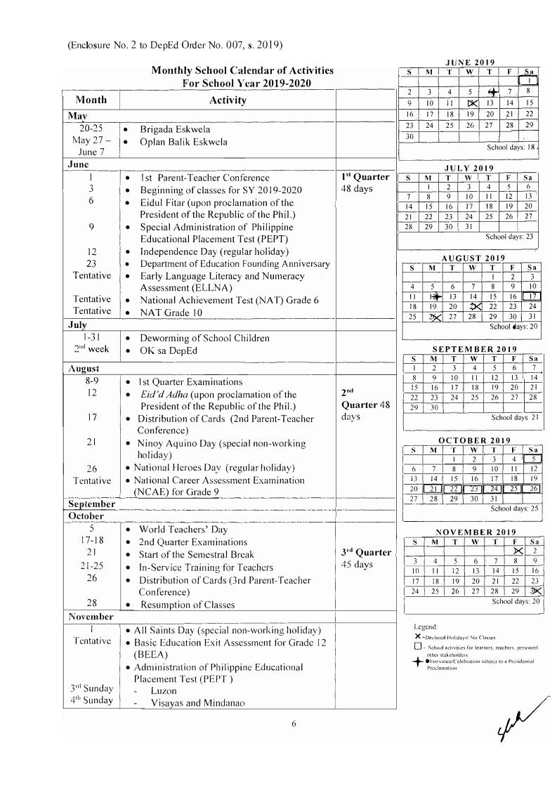 Deped School Calendar For School Year 2019-2020_School Calendar Deped 2020