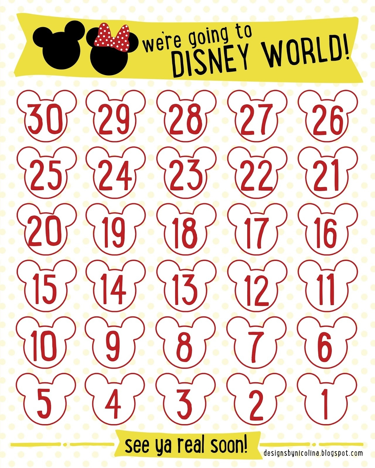 Designs By Nicolina: Disney Countdown! /// Free Printable ///_Countdown Calendar To Disney Vacation