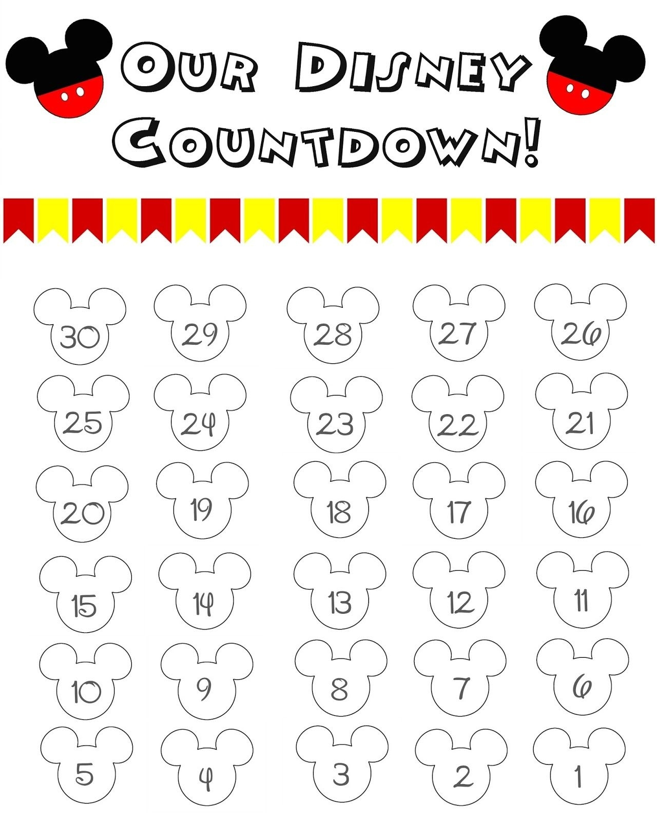 Disney World Countdown Calendar - Free Printable  </p>   </div>        <br>     <div class=