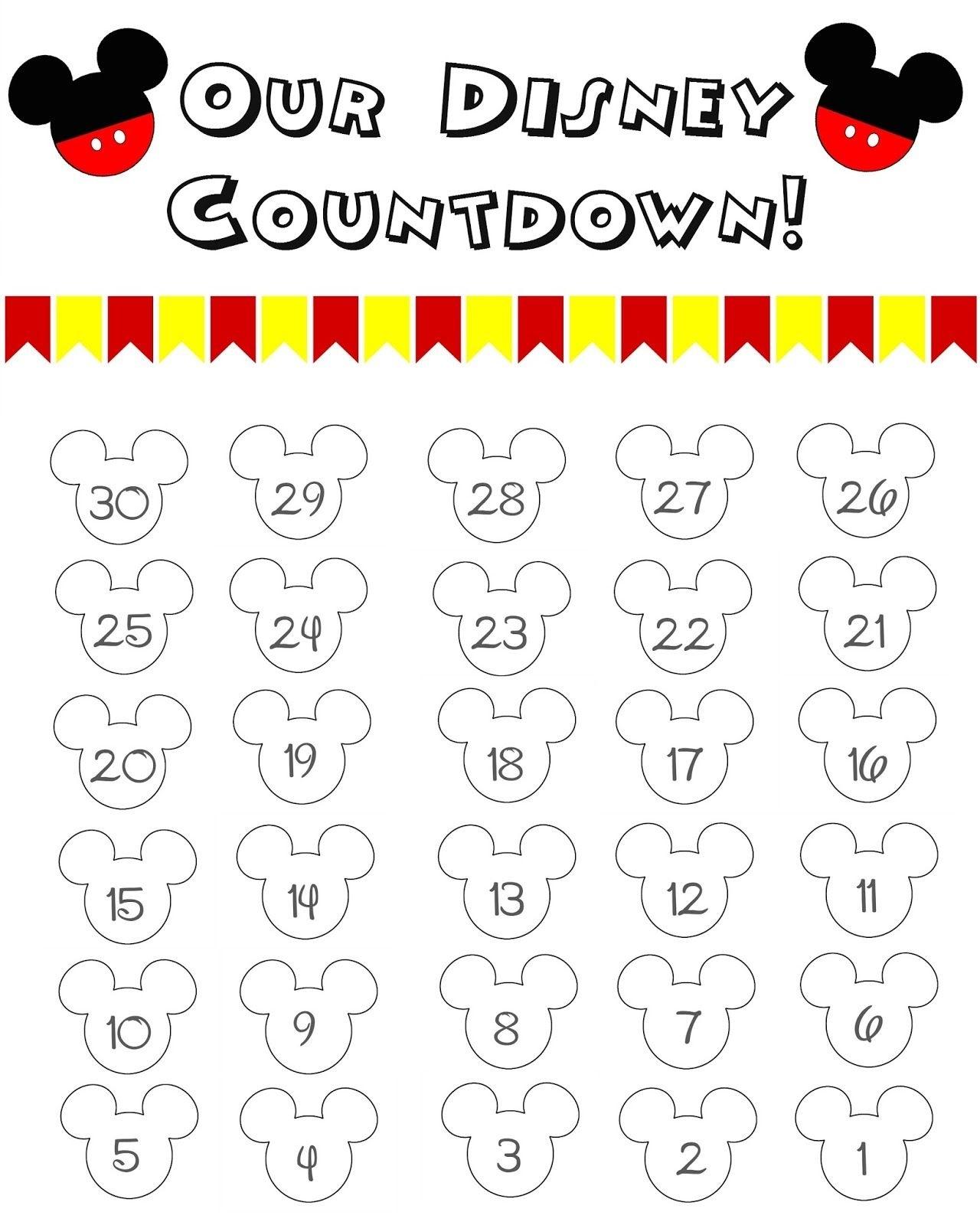 Disney World Countdown Calendar - Free Printable!! | Travel_Countdown Calendar To Disney Vacation