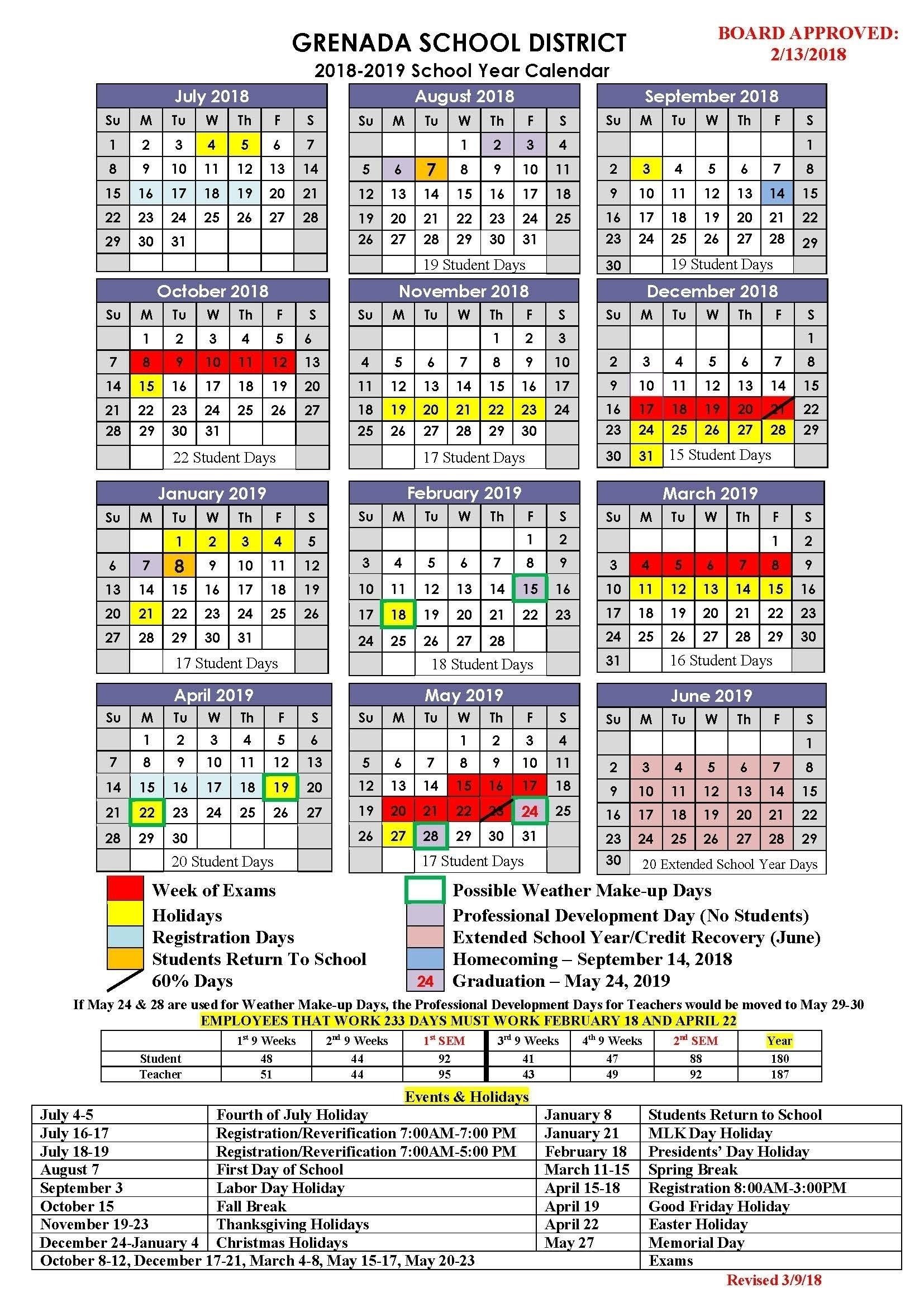 District 7 School Calendar 2020-19 | Calendar Design Ideas_District 7 School Calendar