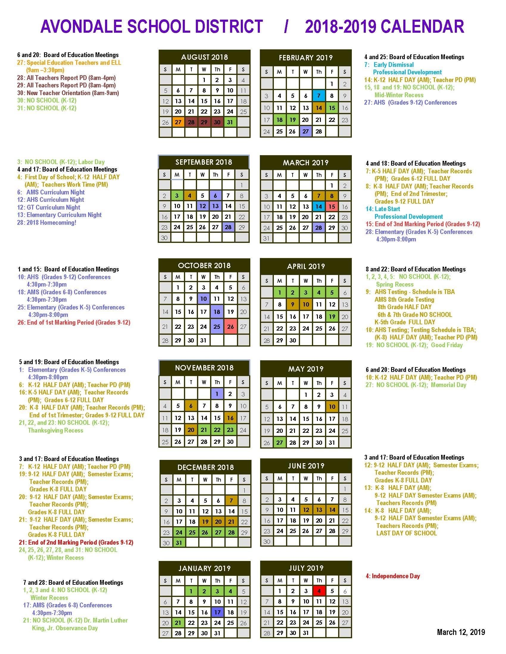 District Calendar - Avondale School District_District 8 School Calendar