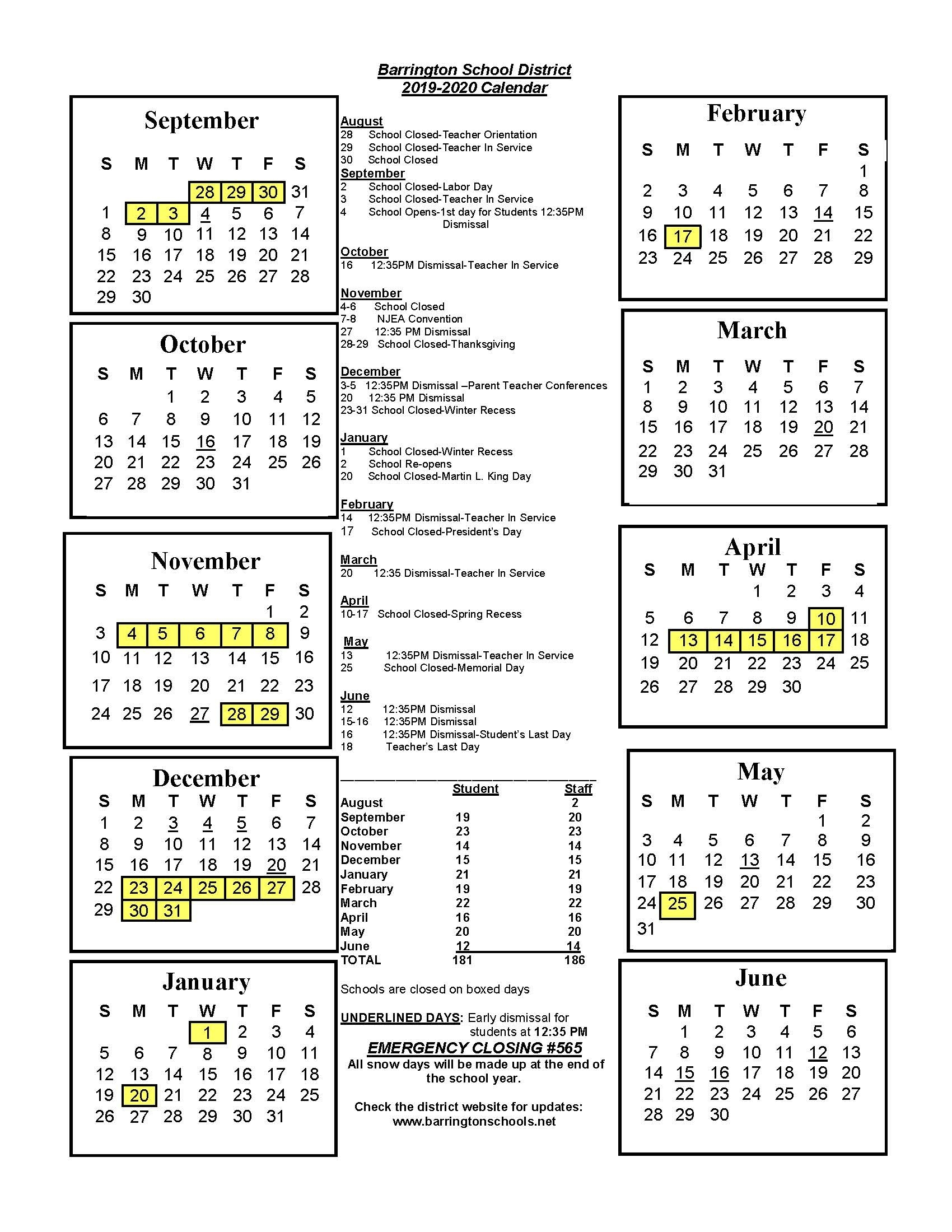 District Calendar - Barrington School District_School Calendar Rhode Island