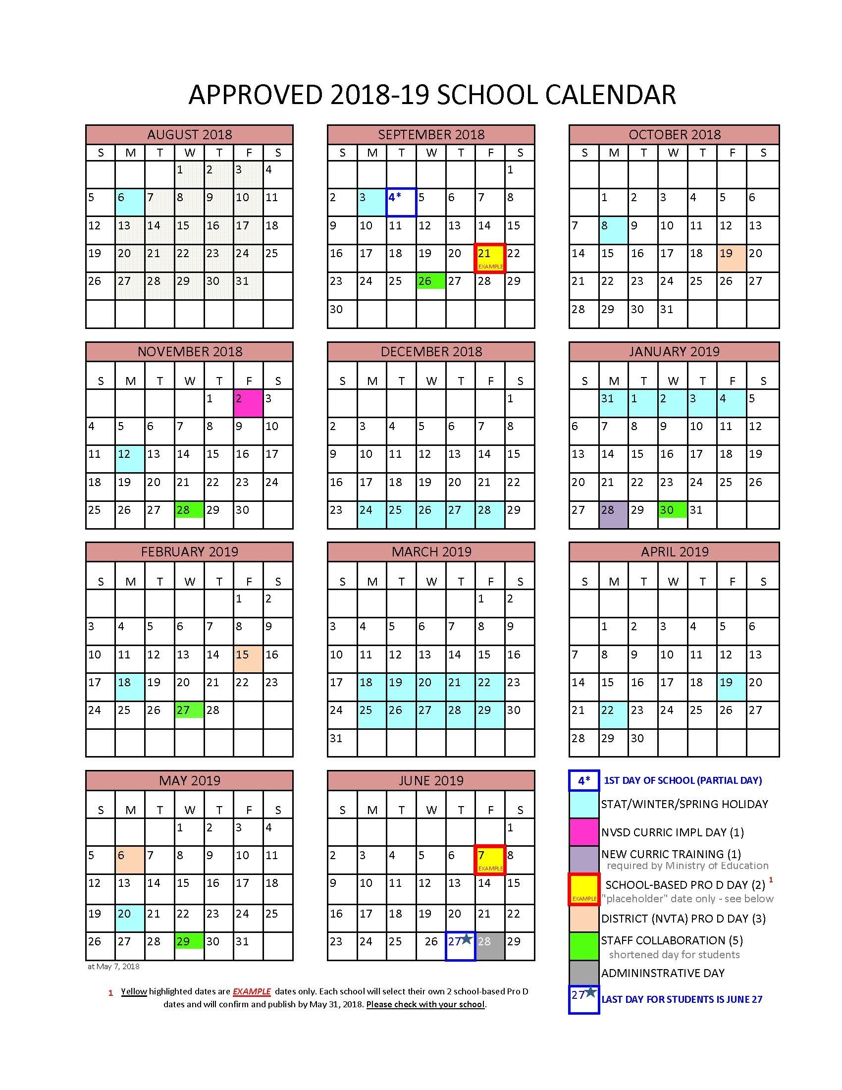 District Calendar - North Vancouver School District_U Of A School Year Calendar
