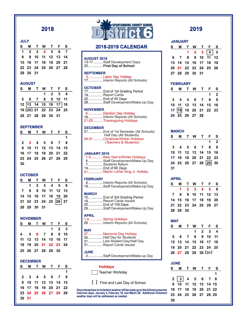 District Calendar – Parents – West View Elementary_Spartanburg District 3 School Calendar