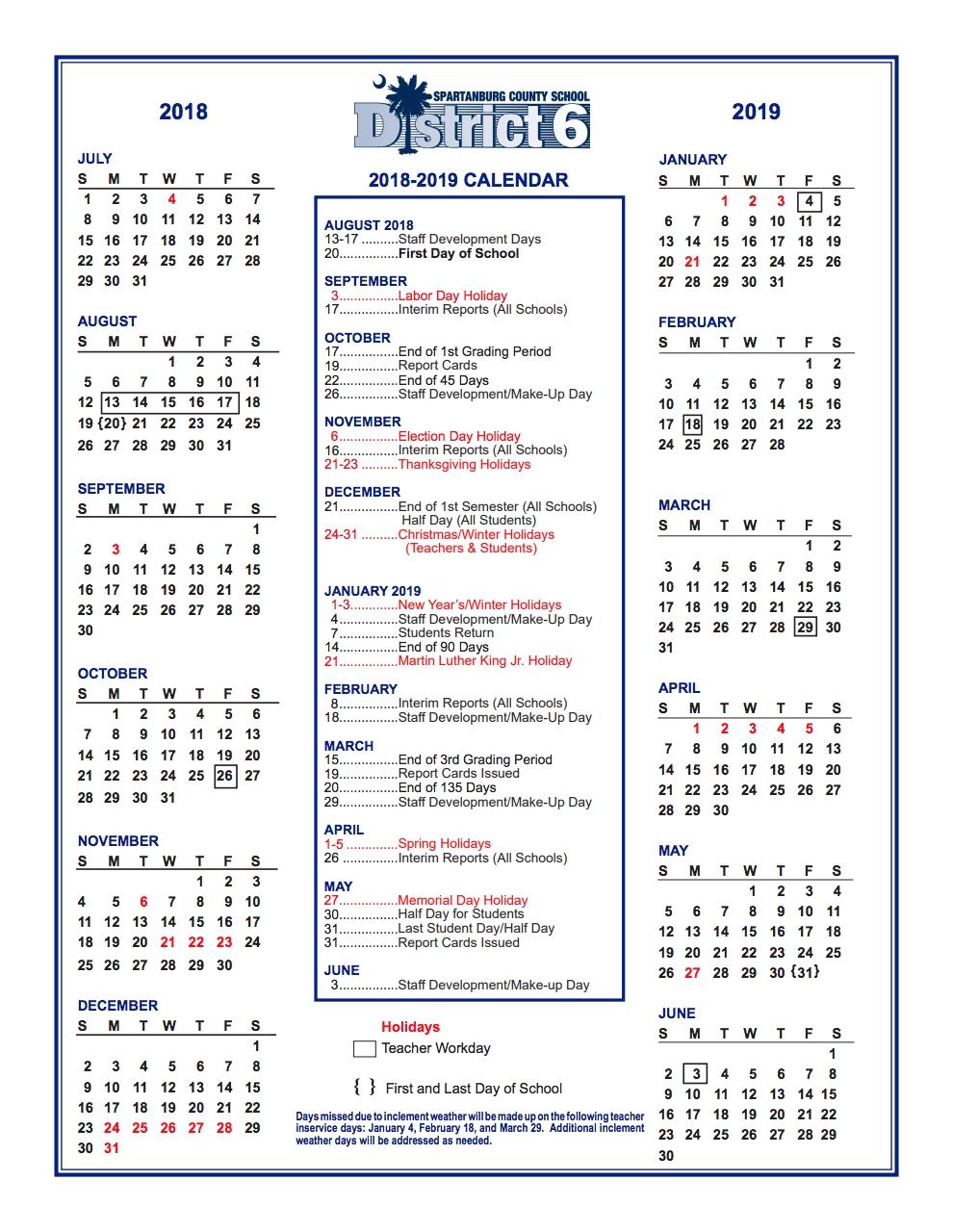District Calendar – Parents – West View Elementary_Spartanburg District 6 School Calendar