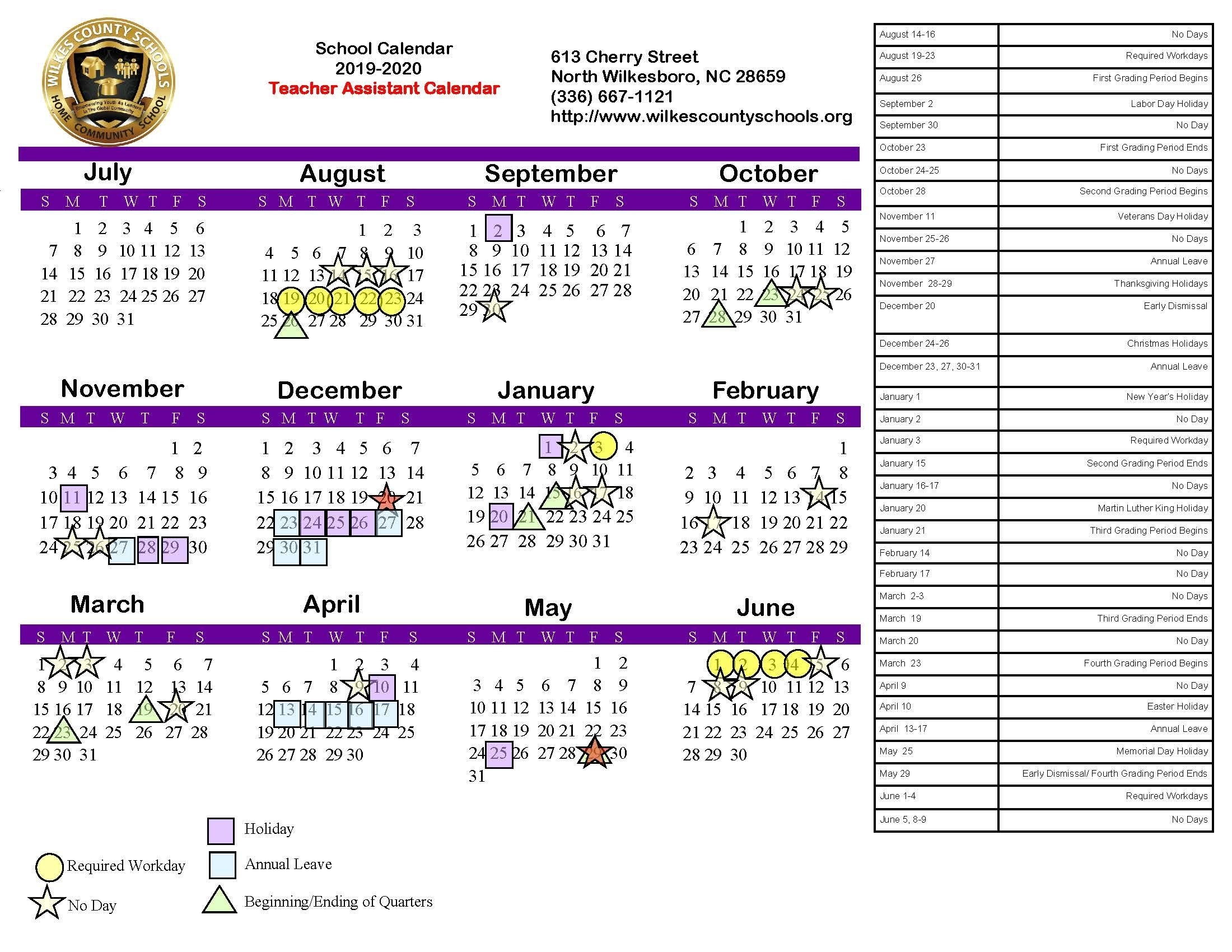 District Calendars – District – Wilkes County Schools_U Of A School Year Calendar