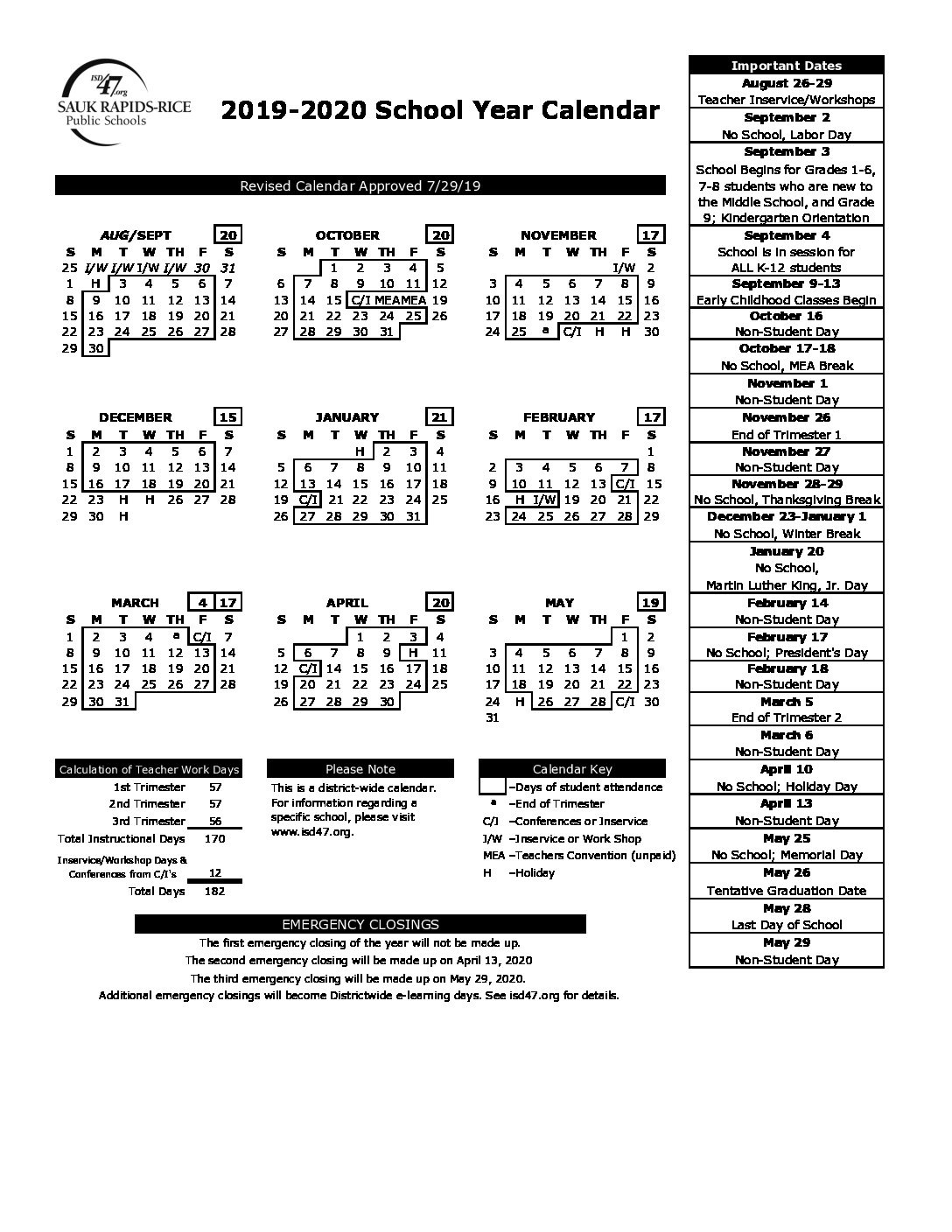 District Calendars_T H Rogers School Calendar