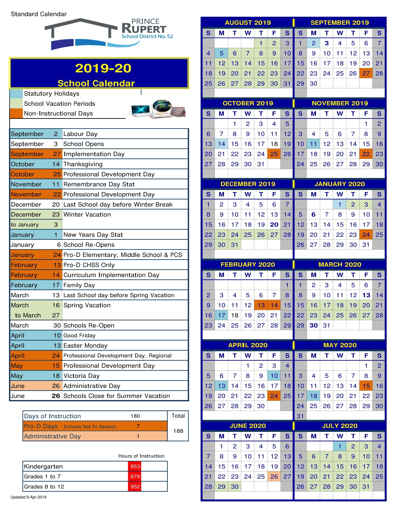 District School Calendar | School District 52_District 8 School Calendar