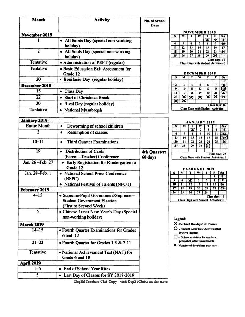 Do 25, S. 2018 - School Calendar For School Year 2018-2019_Page_6_School Calendar Deped 2020