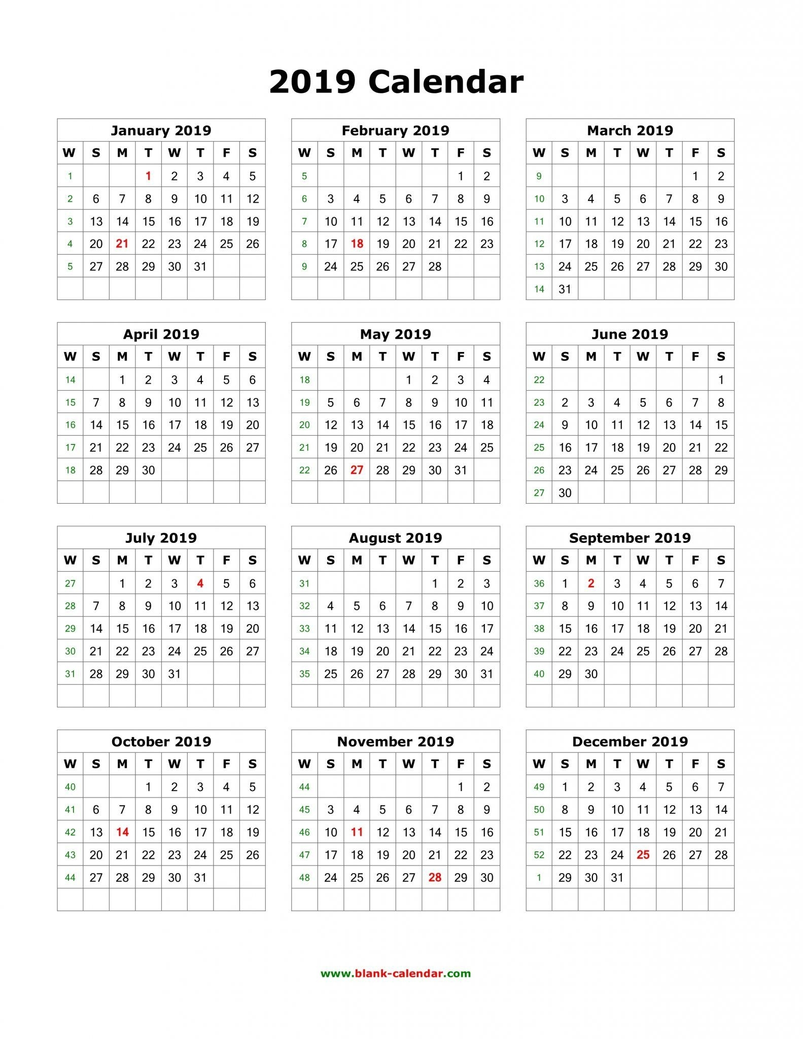 Download Blank 2019 Calendar Templates | 12 Month Calendar In One_4 Week Blank Calendar Printable