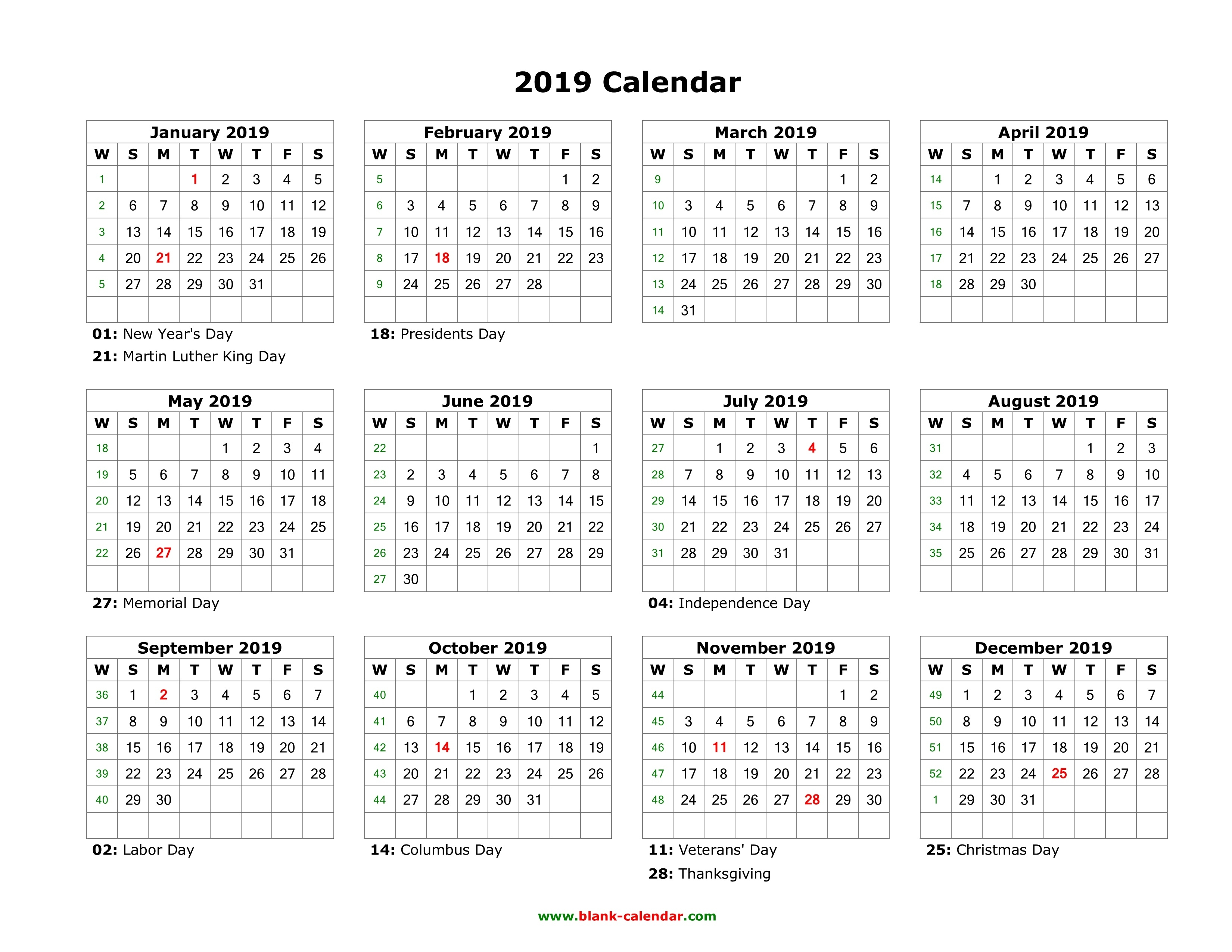Download Blank Calendar 2019 With Us Holidays (12 Months On One Page_Blank Calendar With Holidays