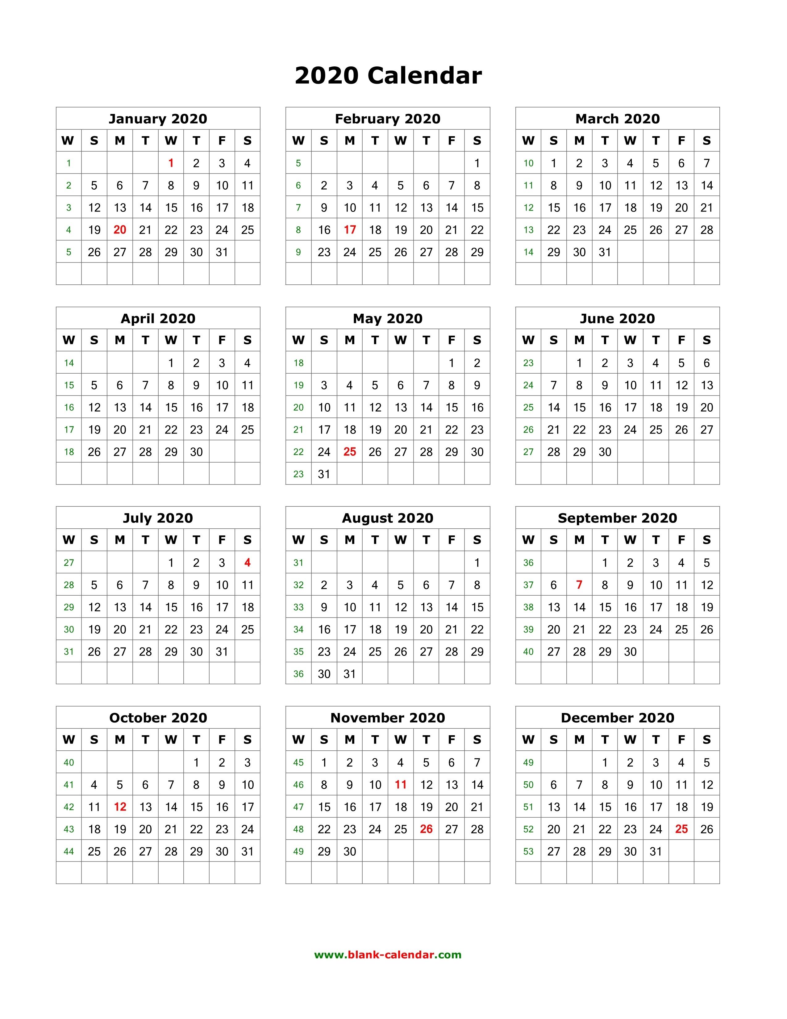 Download Blank Calendar 2020 (12 Months On One Page, Vertical)_Blank Calendar Pdf 2020