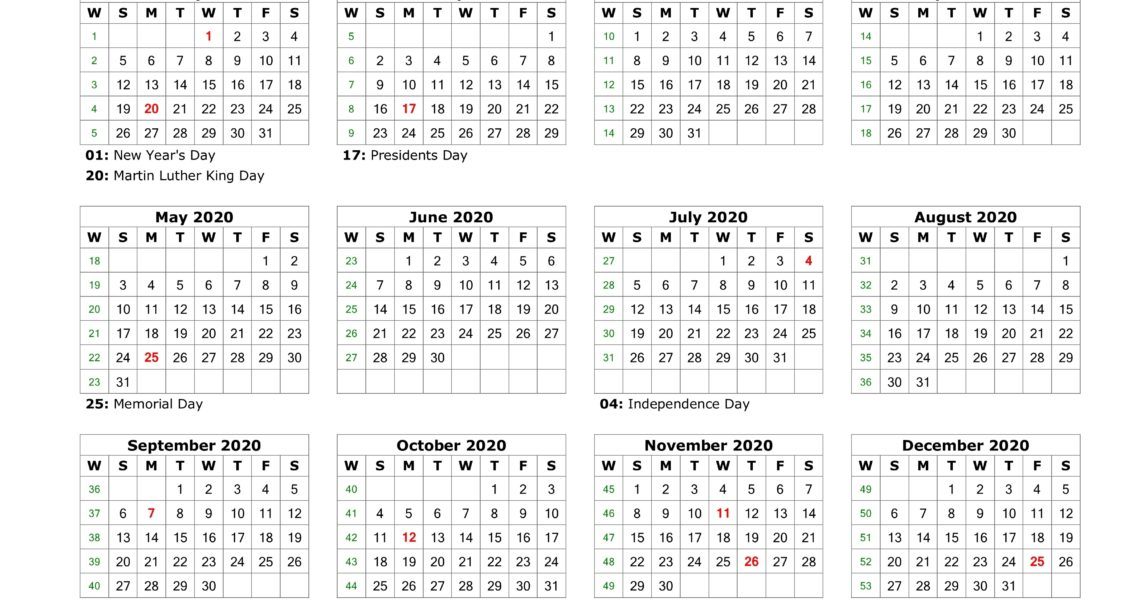 Download Blank Calendar 2020 With Us Holidays (12 Months On One Page_Blank Calendar Pdf 2020