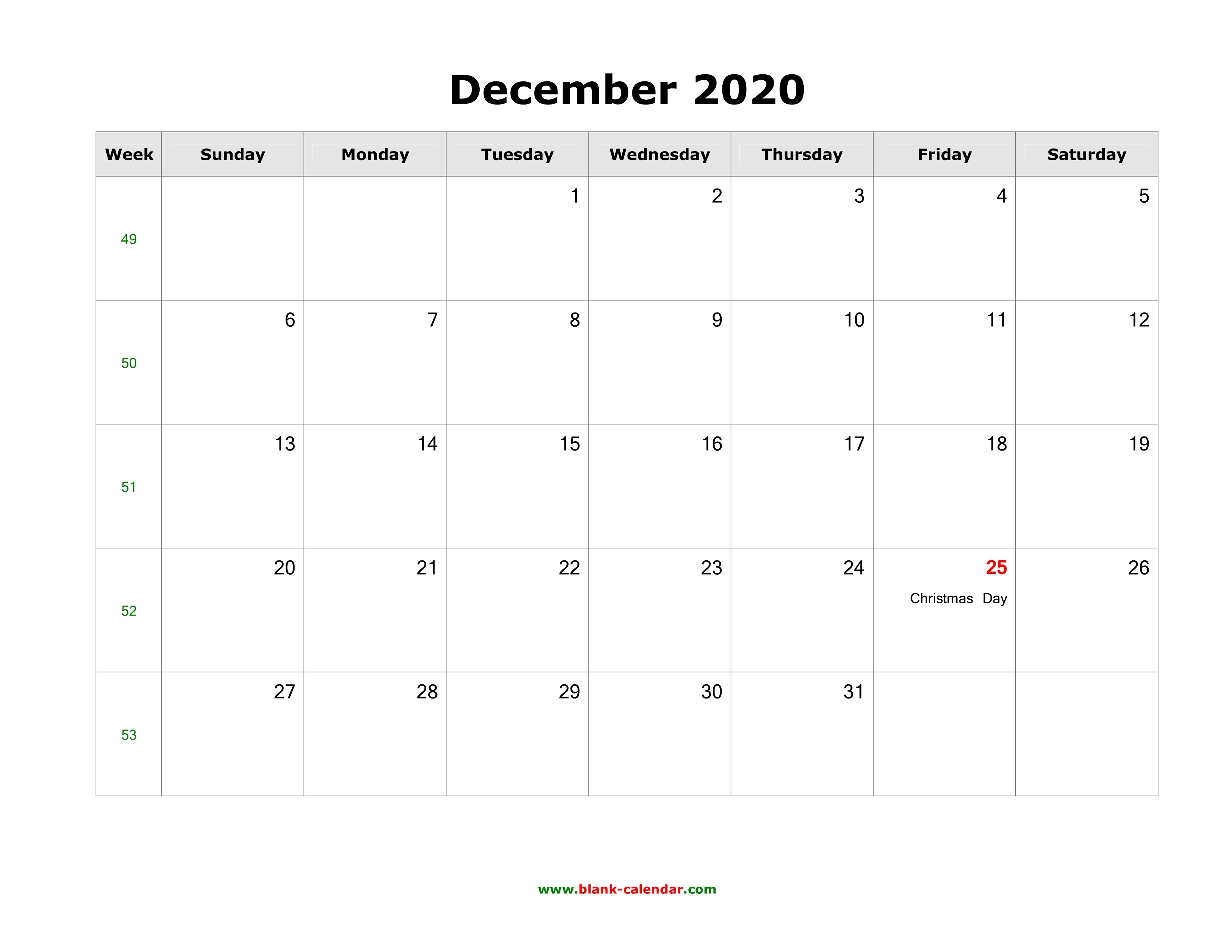 Download December 2020 Blank Calendar With Us Holidays (Horizontal)_A Blank Calendar For December 2020