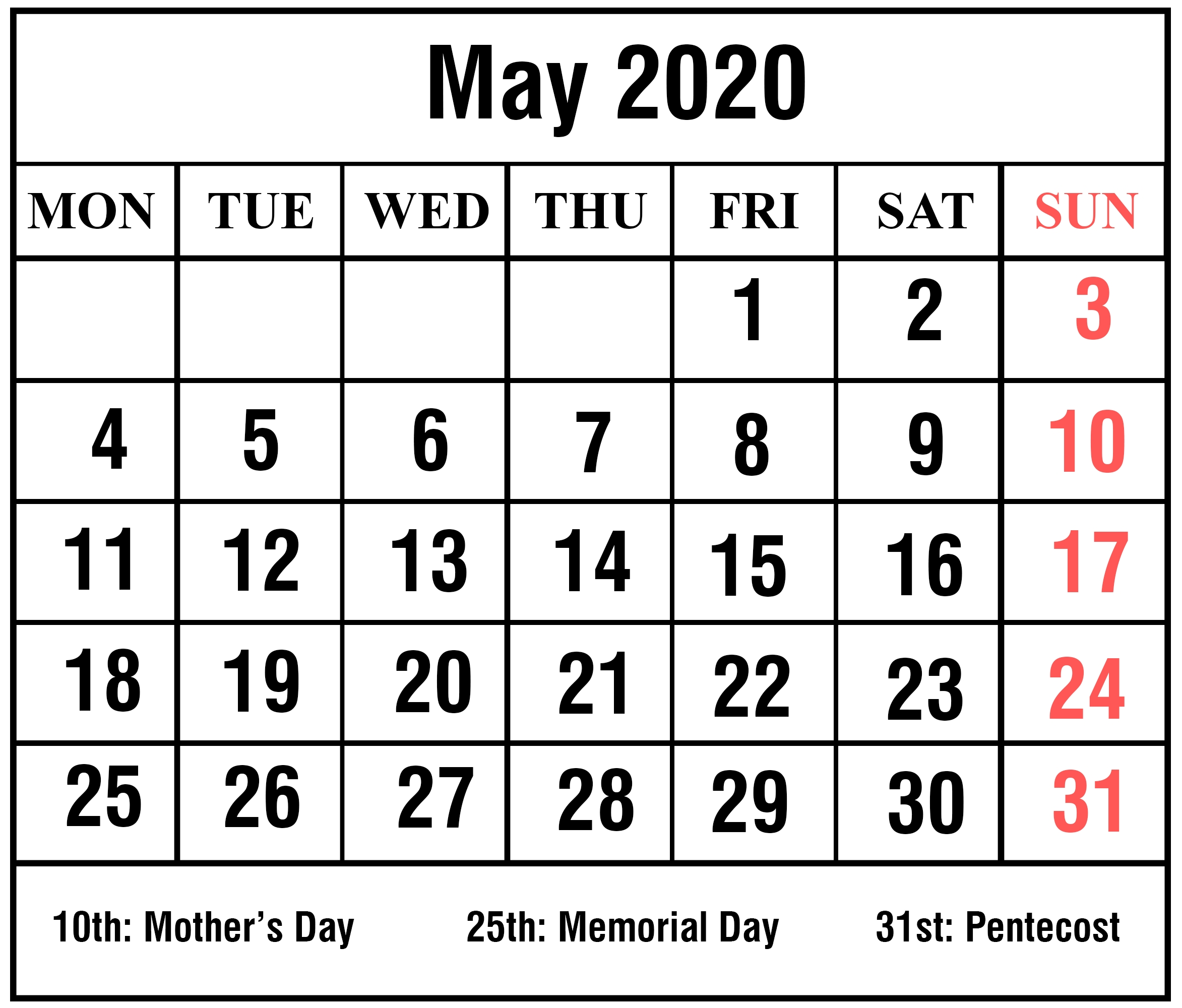 Download Free Blank May 2020 Printable Calendar [Pdf, Excel & Word_Blank Calendar May 2020 Pdf