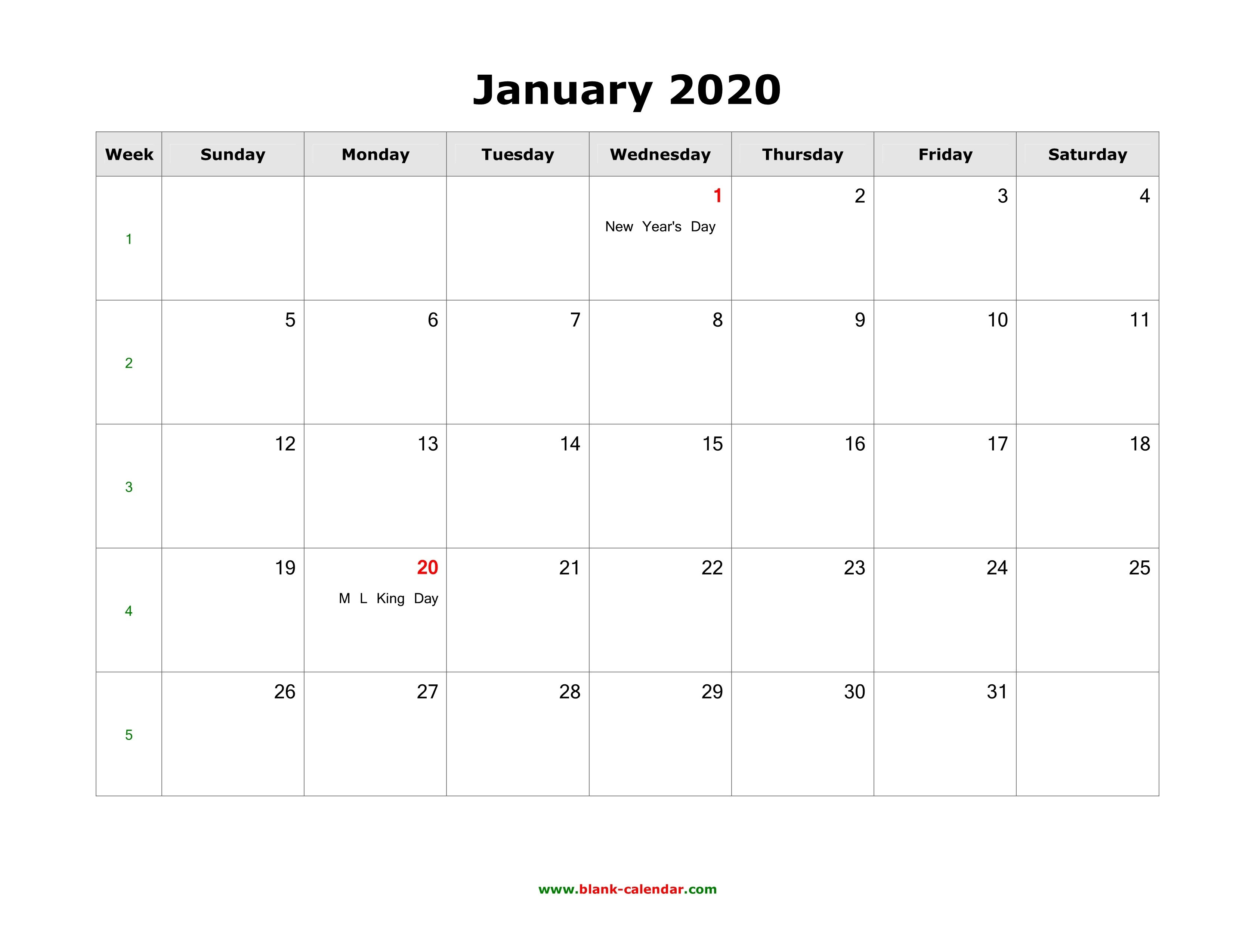 Download January 2020 Blank Calendar With Us Holidays (Horizontal)_Blank Calendar December 2020 And January 2020