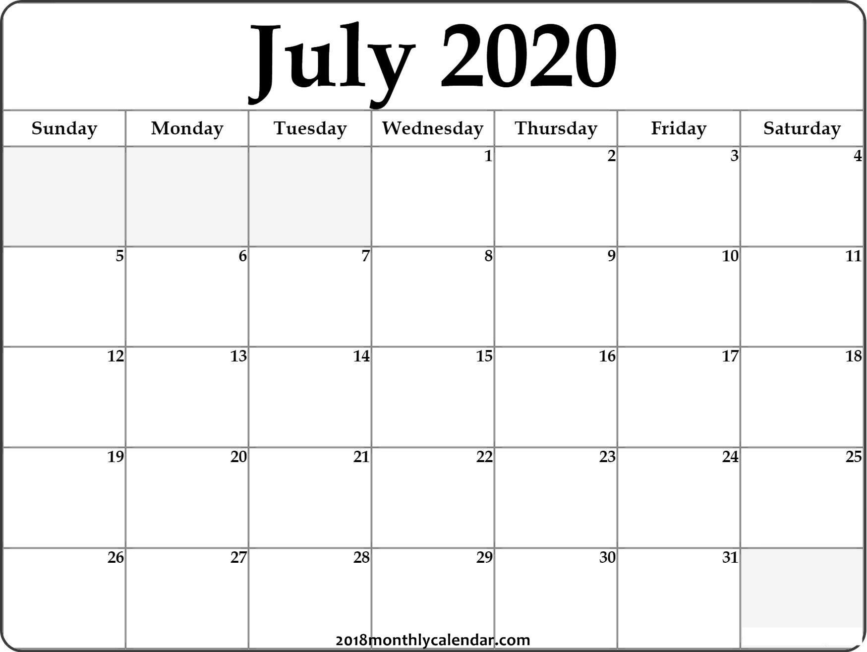 Download July 2020 Printable Calendar_Blank Calendar For July 2020
