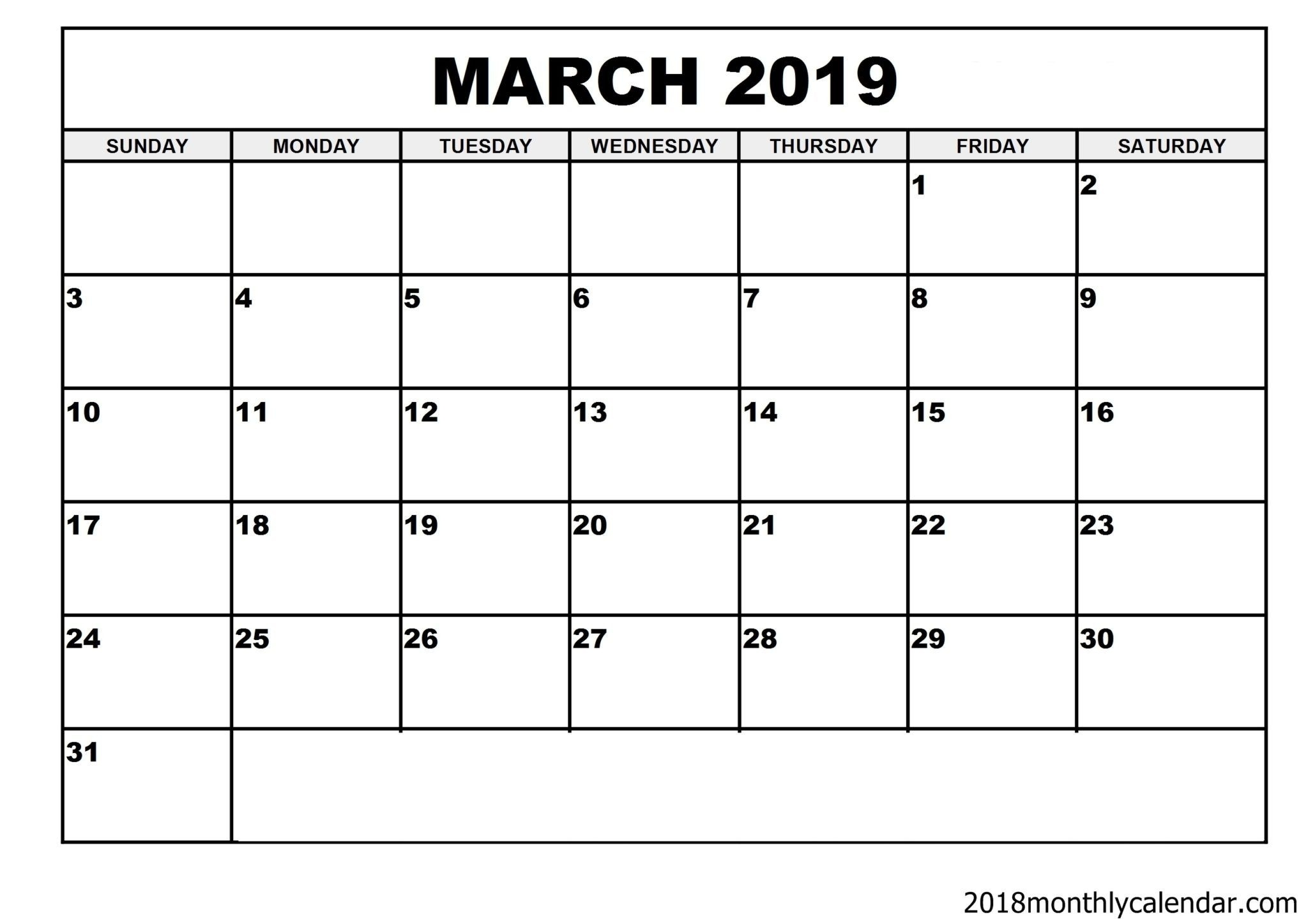 Download March 2019 Calendar – Blank Template - Editable Calendar_Calendar Blank Templates Free