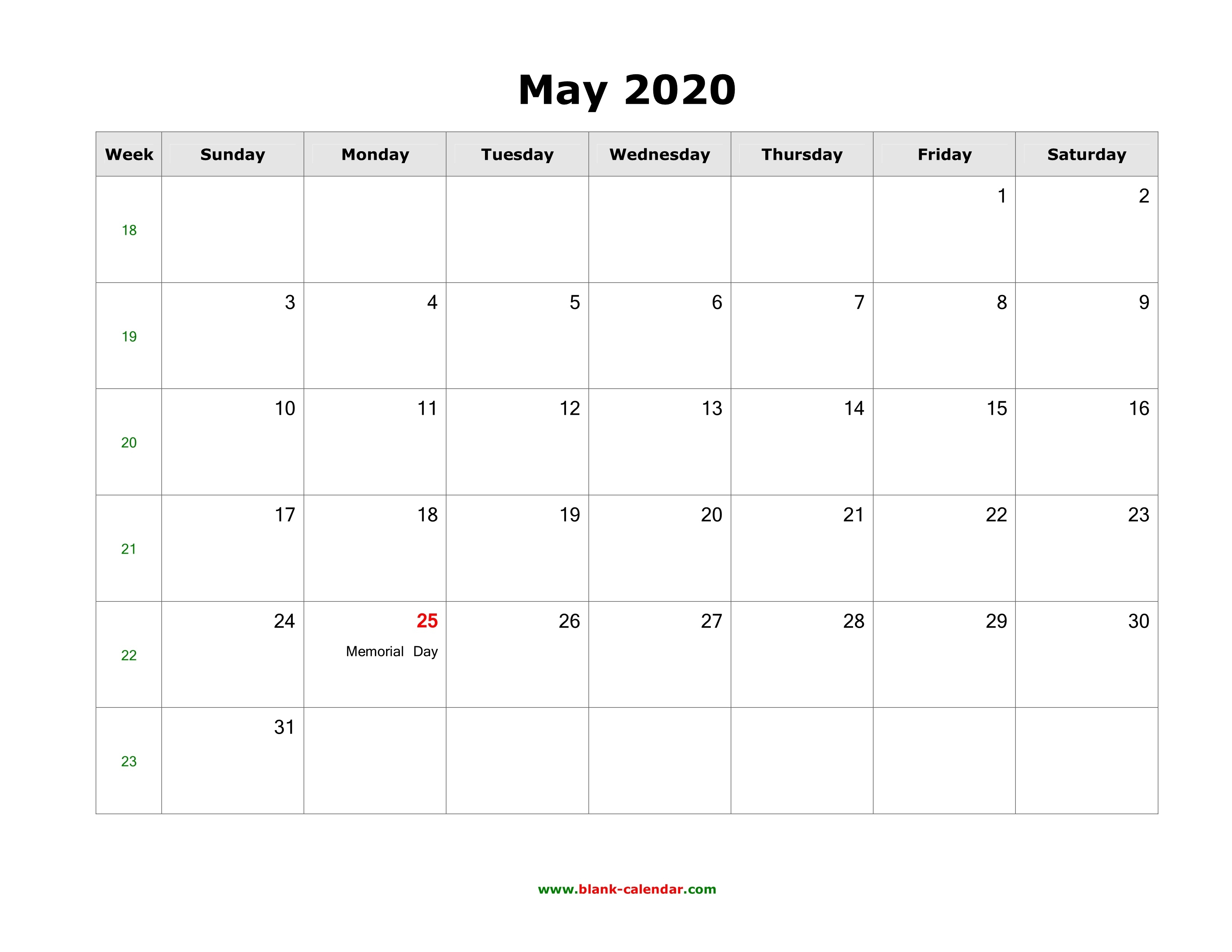 Download May 2020 Blank Calendar With Us Holidays (Horizontal)_Blank Calendar August 2020-May 2020