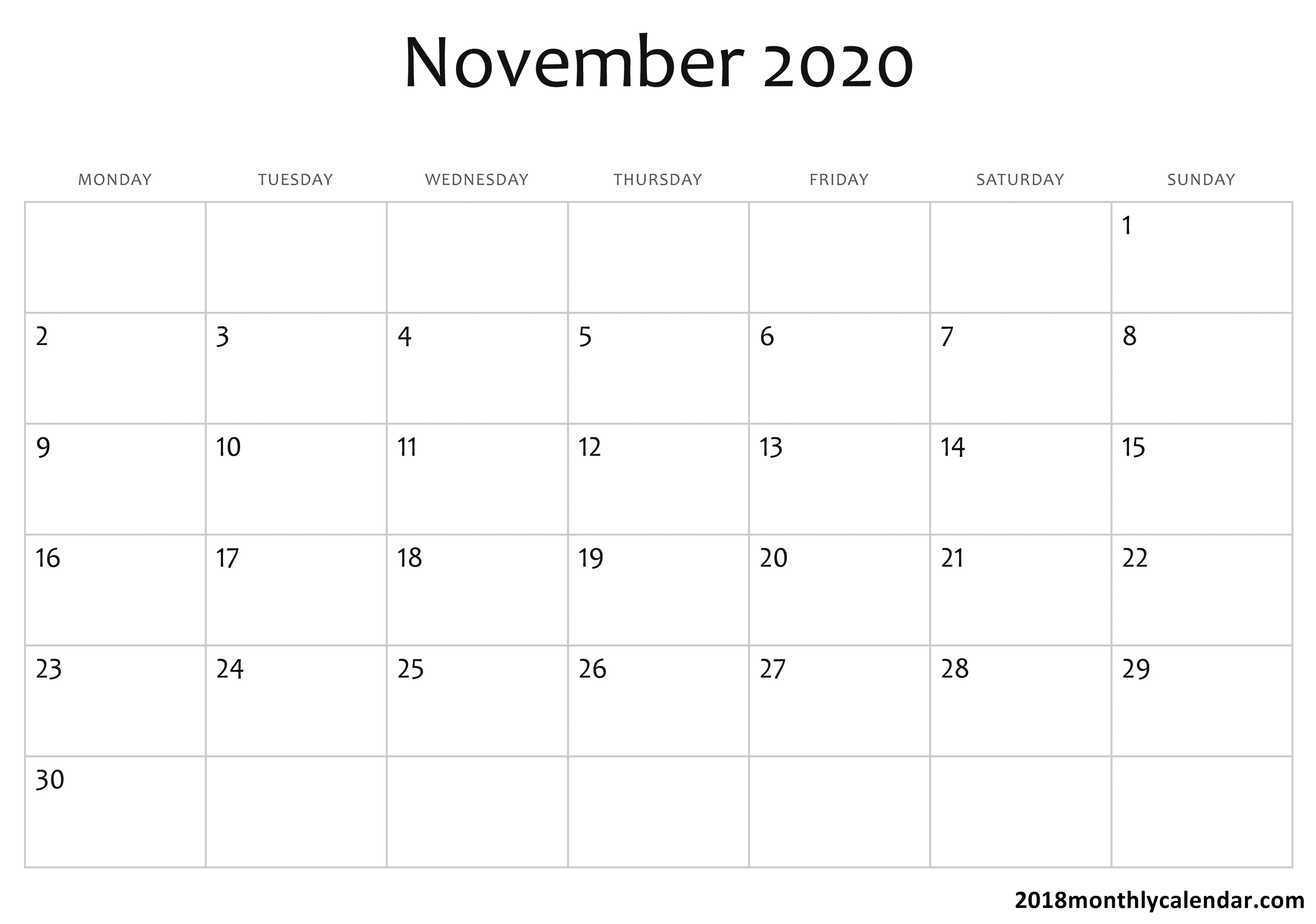 Download November 2020 Calendar – Blank & Editable_Calendar Blank Nov 2020