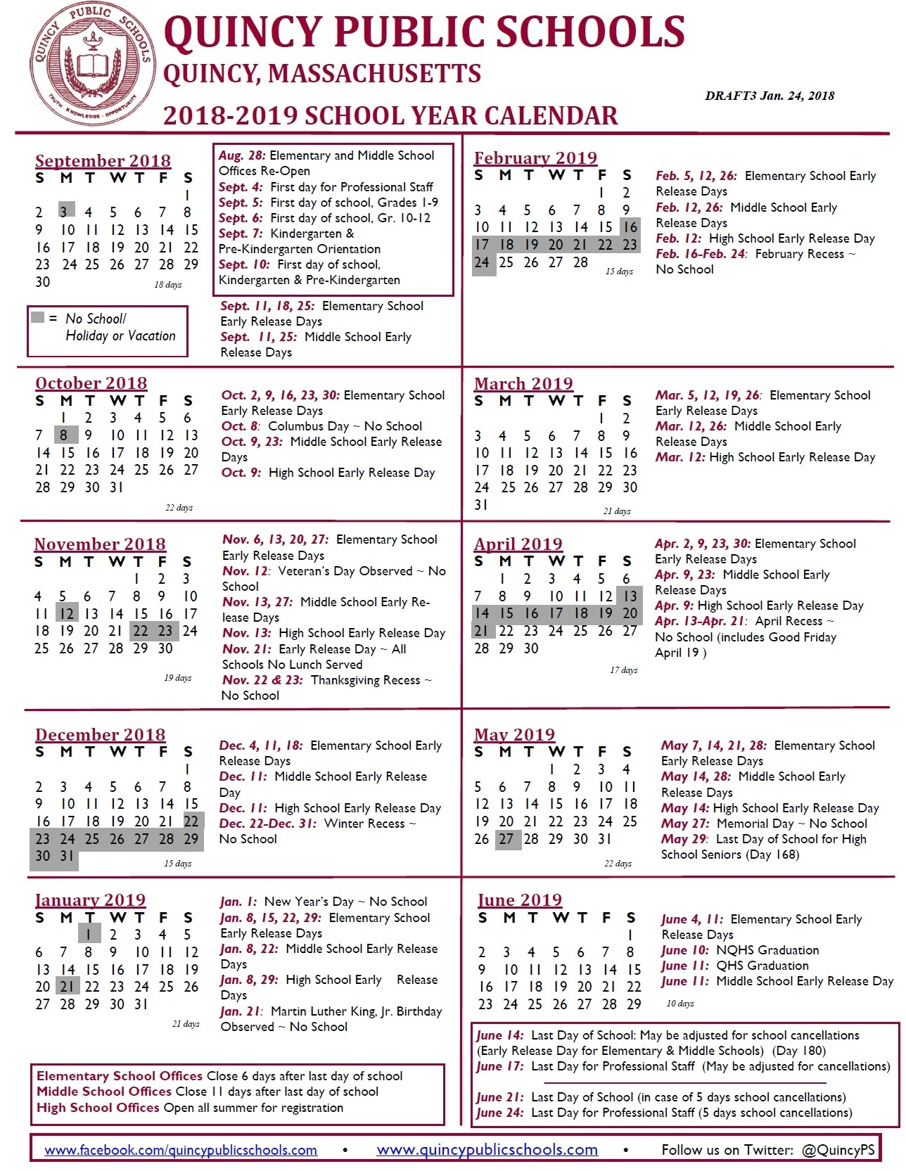 Draft 2018-2019 School Year And School Committee Meeting Calendars_School Calendar Quincy Ma