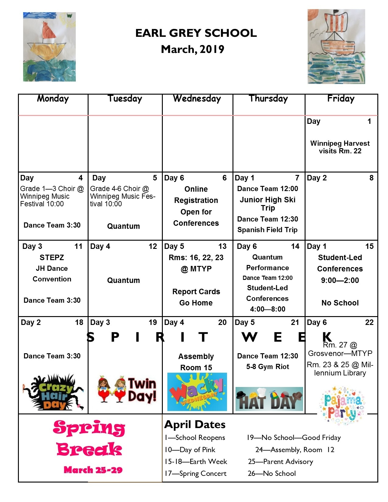 Earl Grey School_6 Day School Calendar Winnipeg