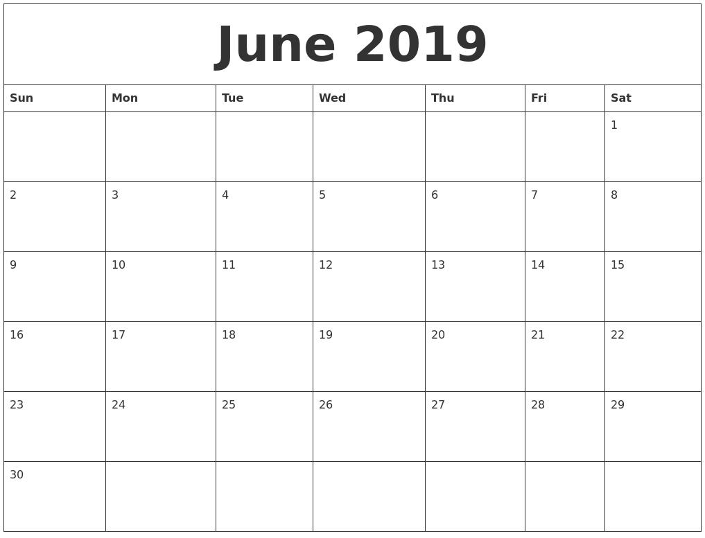 Editable June 2019 Calendar In Pdf, Word, And Excel - Printable_Blank Calendar In Word