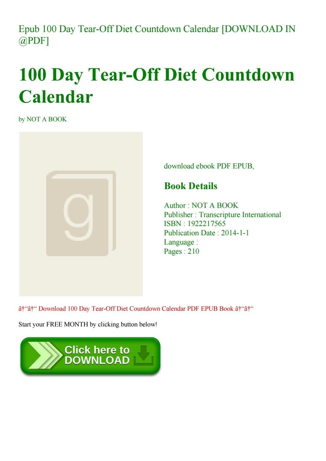 Epub 100 Day Tear-Off Diet Countdown Calendar [Download In @pdf] By_Countdown Calendar 100 Days